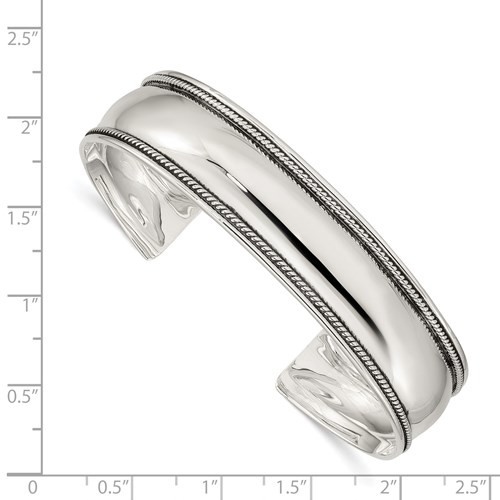 SS solid polished/antiqued 14.5mm rope edge cuff bracelet