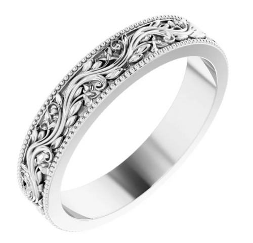 14K White 4 mm Sculptural-Inspired Band with Milgrain Size 7