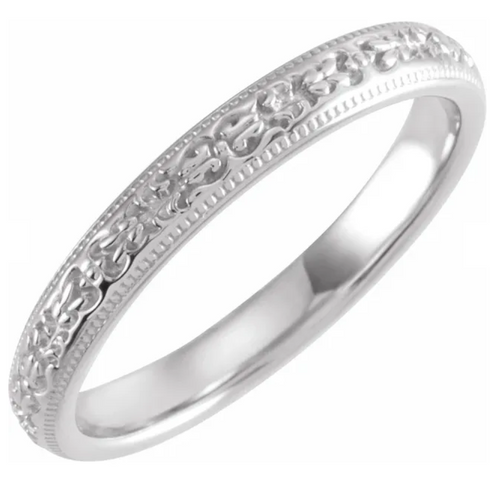 14K White 3 mm Patterned Band Size 7