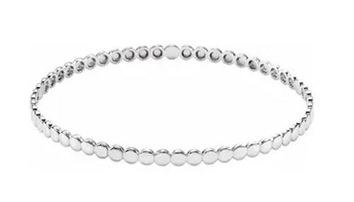 """SS 3.8mm beaded bangle bracelet 7.75"""""""