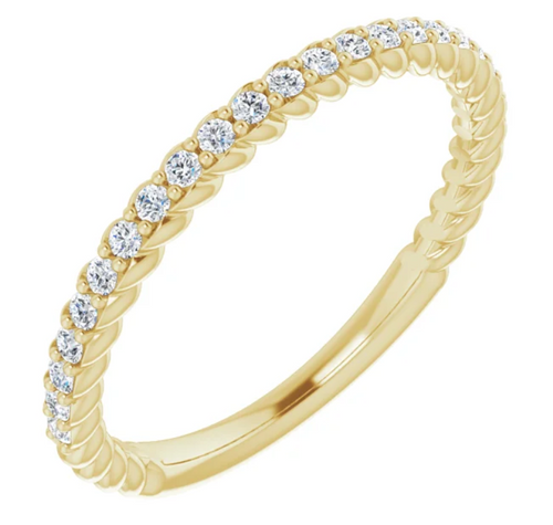 14K White 1/4 CTW Diamond Rope Anniversary Band