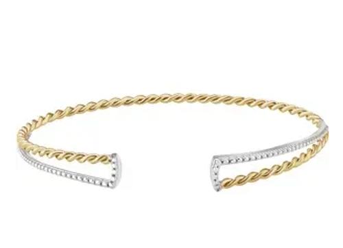 "14ky&wg 7.5mm twisted/beaded cuff bracelet 7"""