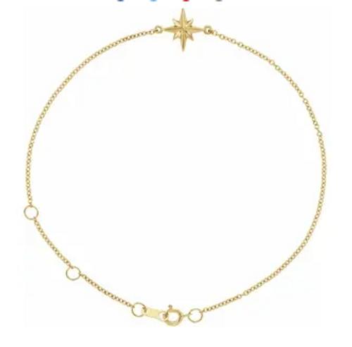 "14kyg Celestial charm cable chain bracelet 6.5-7.5"""