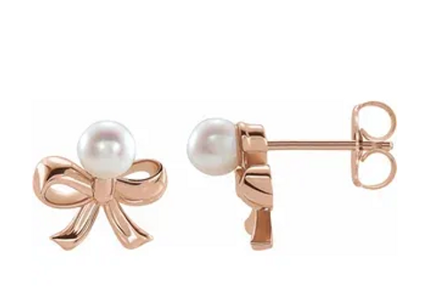 14k rose gold 4mm SWC pearl bow stud earrings