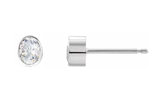 14kwg 1/3cttw oval diamond bezel set stud earrings