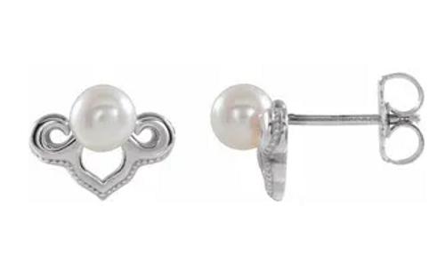 14kwg 4-4.5mm FWCP drop stud earrings