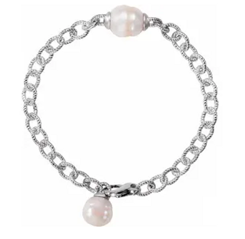 SS 11-13mm pearls textured cable chain bracelet 8.5""