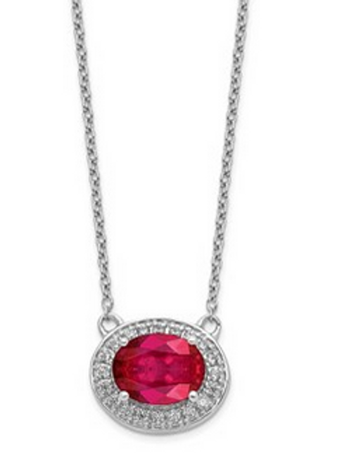 """14kwg 2.22ct oval ruby 1/5cttw diamond halo necklace 18"""""""