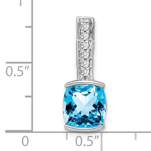 14kwg 2.5ct cushion blue topaz 1/8cttw diamond pendant