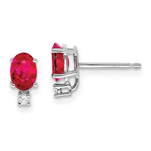 14kwg 1.2cttw oval ruby/ 0.04cttw diamond stud earrings