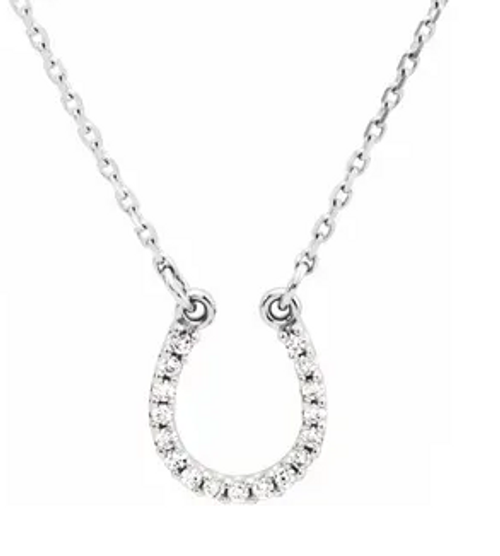 "14kwg 0.07cttw diamond horse shoe necklace 16"""
