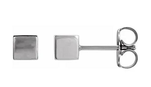 14kwg 4mm cube stud earrings