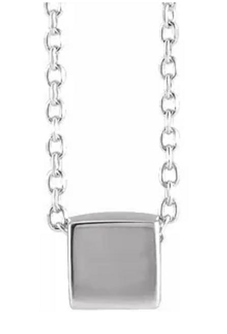 "14kwg 5mm cube slide necklace 18"""
