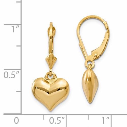 14kyg puffed heart dangle leverback earrrings