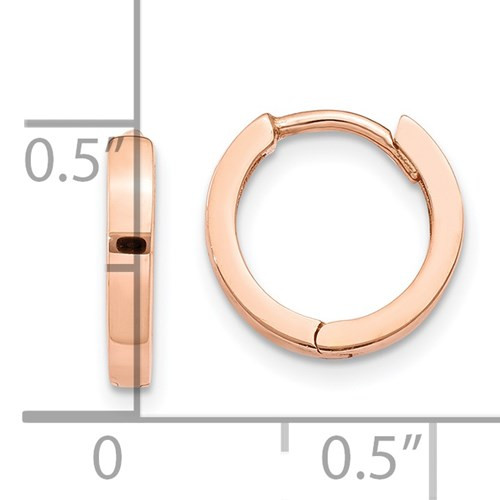 14k rose gold hinged/huggie hoops