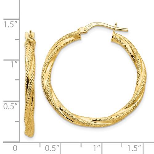 14kyg twisted textured hoop earrings