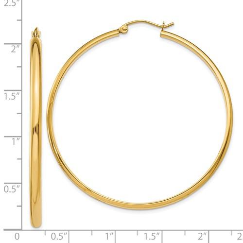 14kyg polished hoop earrings 50mm by 2.75mm