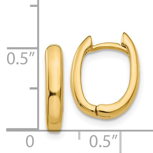 14kyg oval hinged/huggie hoop earrings