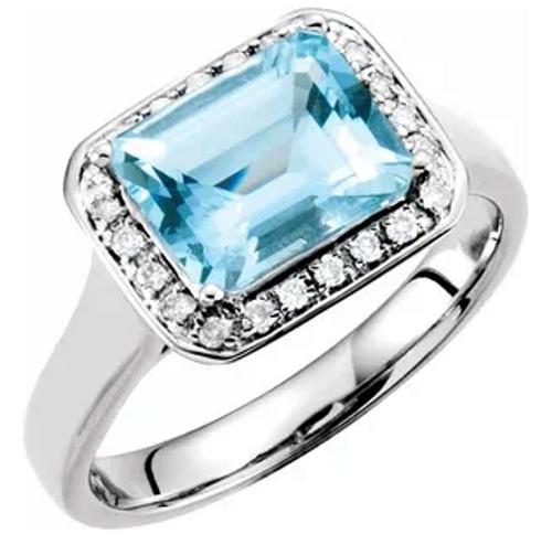 14kwg emerald cut Aqua 1/8cttw diamond halo ring