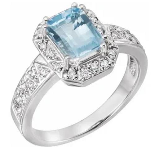14kwg 8x6mm EC Aqua 1/6cttw diamond halo ring