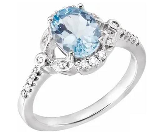 14kwg 9x7mm oval Aqua 1/6cttw diamond accented ring