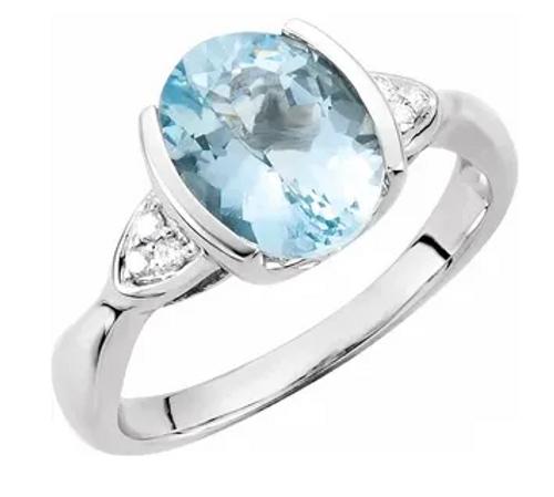 14kwg oval half bezel set Aqua/accented diamond ring