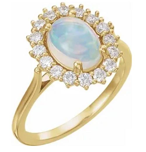 14kyg 8x6mm oval Opal 3/8cttw diamond halo ring