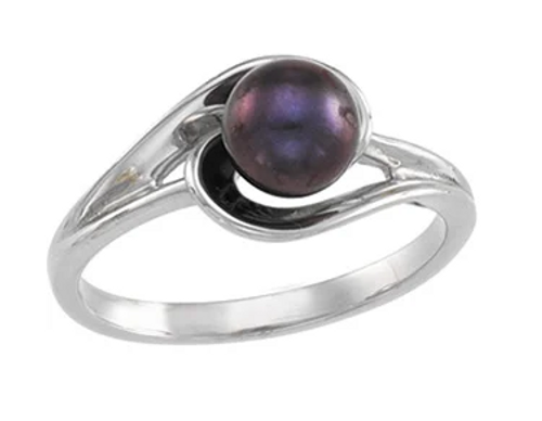 14kwg 6mm black SWCP swirl ring