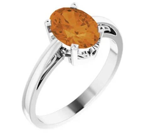 14kwg 7x5mm oval Citrine in scroll setting ring