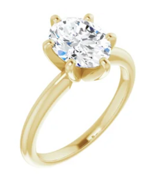 14K Yellow 7x5 mm Oval Solitaire Engagement Ring Mounting