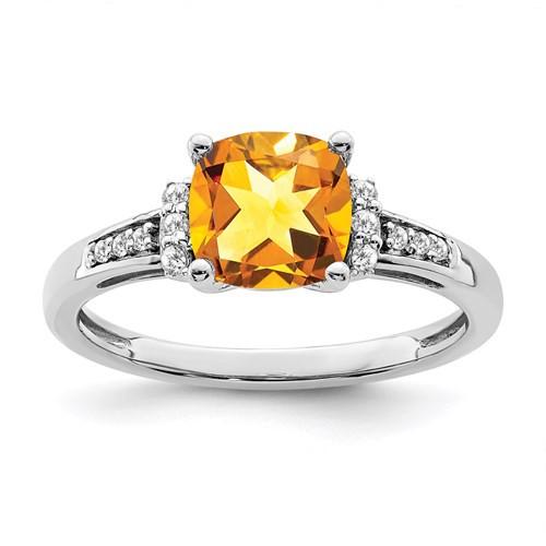 14kwg 1.8ct cushion cut Citrine/0.09cttw diamond ring