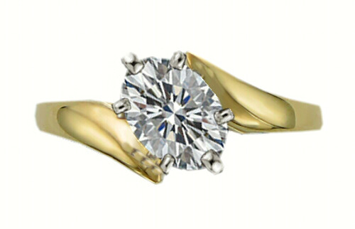 14K White Oval Bypass Engagement Ring Mounting