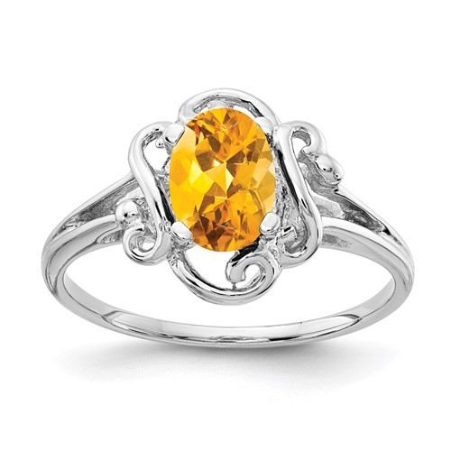 14kwg 0.8ct oval Citrine fancy top ring