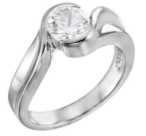14K White 6.5 mm Solitaire Engagement Ring Mounting