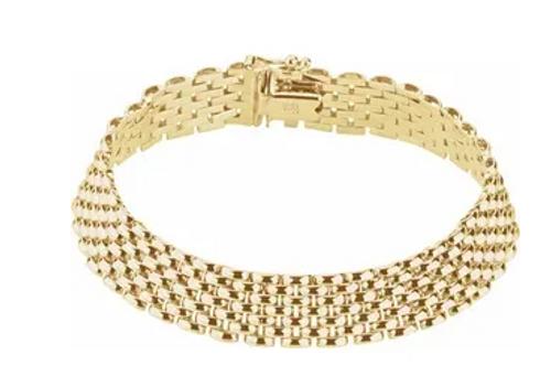"""14kyg 10.25mm panther bracelet 7"""""""