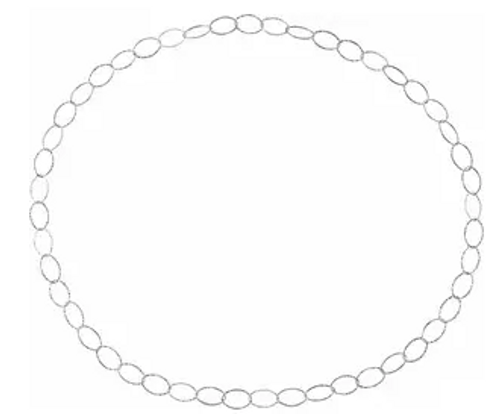 """SS 13mm wide hammered oval link endless necklace 36"""""""