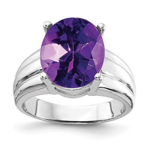 14kwg 12x10mm oval 4.1ct Amethyst ring