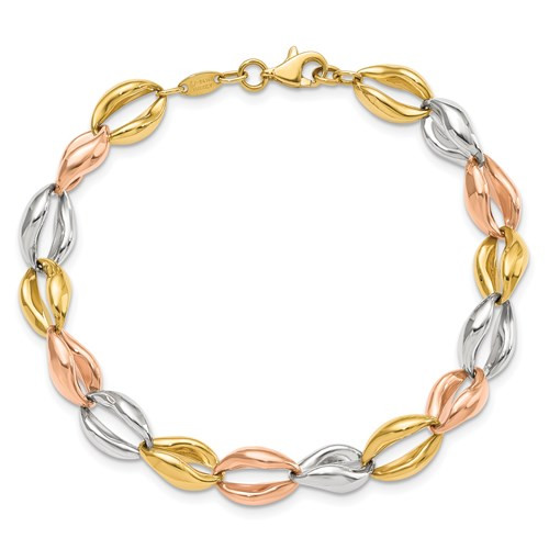 14ktri color gold 7mm solid link bracelet with lobster claw clasp 7.5""