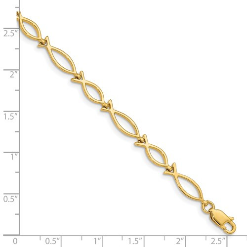 "14kyg 5mm Icthus (fish) bracelet 7"""