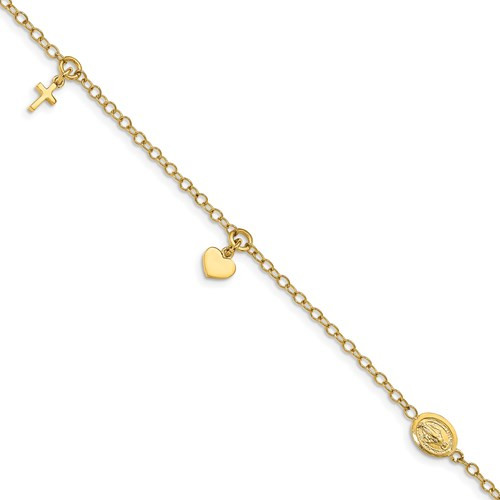 """14kyg religious heart,cross, medal bracelet 7"""""""