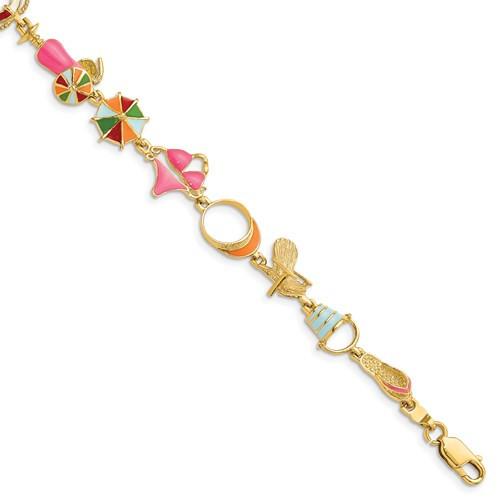 "14kyg  Multi-Color Enamel Beach Theme Bracelet 7.25"""