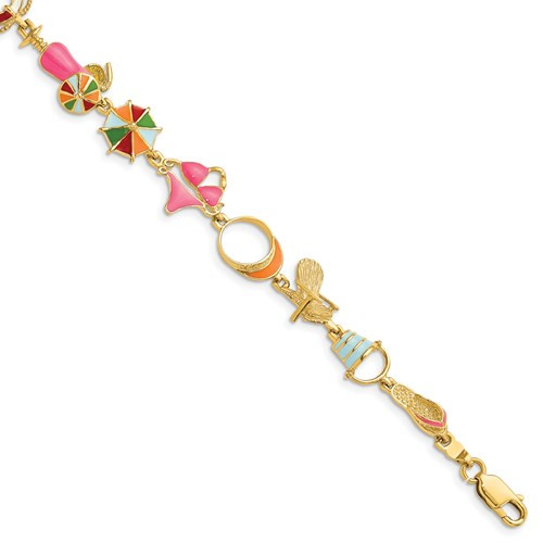 14kyg  Multi-Color Enamel Beach Theme Bracelet 7.25""