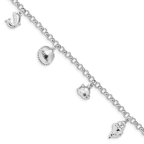 "Sterling Silver Rhodium-plated Beach Theme Charm Bracelet 7"""