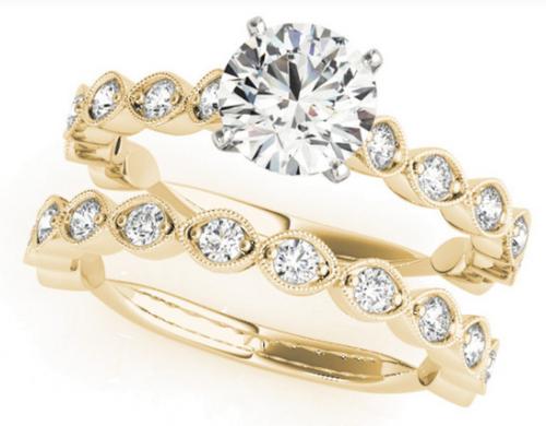 14 K white gold 3/8 CTW diamond semi-mount ring