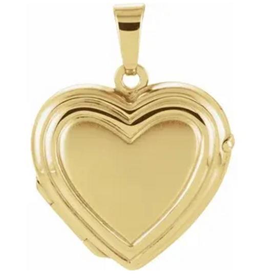 14kyg ridged polished heart shaped locket pendant