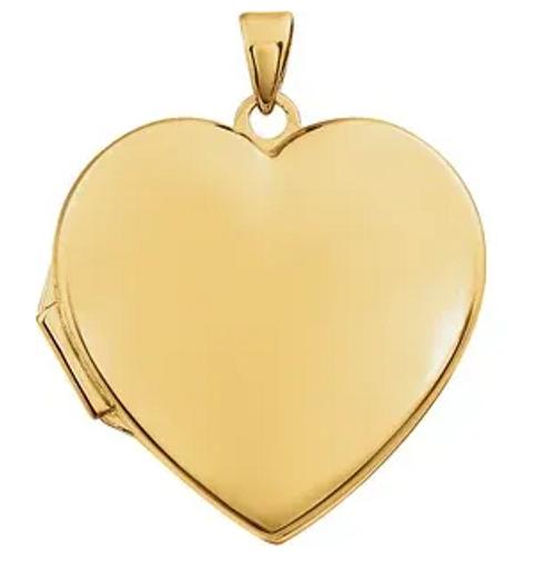 14kyg polished heart shaped locket pendant