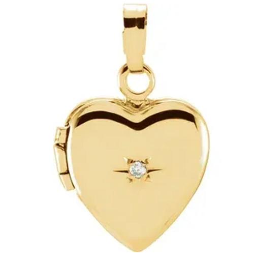 14kyg accent diamond heart shaped locket pendant