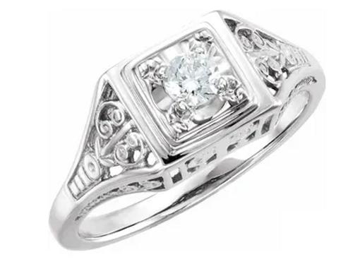 14kwg 1/6ct diamond filigree ring