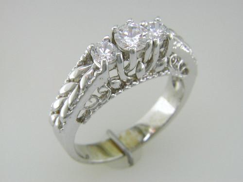 Custom design 3 diamond engraved ring