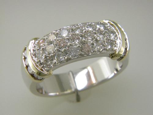 Custom design two tone band w/channel and bright set diamonds